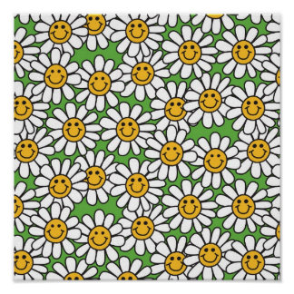 Smiley Daisy Flowers Pattern Posters