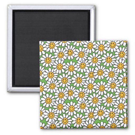 Smiley Daisy Flowers Pattern Refrigerator Magnets