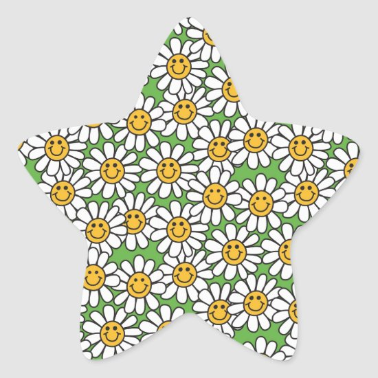 Smiley Daisy Flowers Pattern Star Sticker