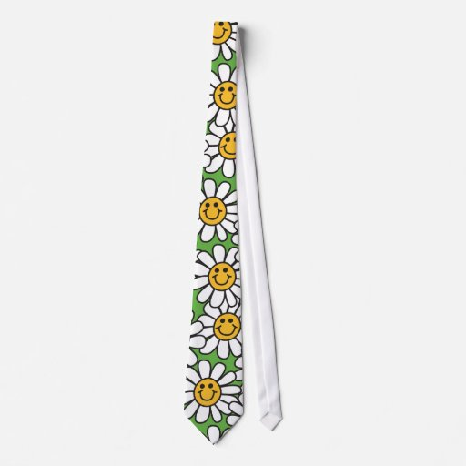 Smiley Daisy Flowers Pattern Tie