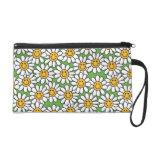 Smiley Daisy Flowers Pattern Wristlet Clutch