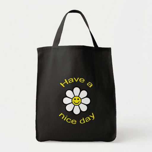 Smiley Daisy Grocery Tote Bag