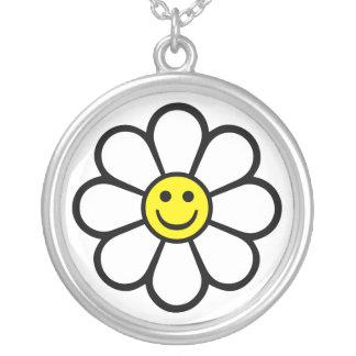 Smiley Daisy Round Pendant Necklace