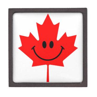 Smiley de Canadá - una cara sonriente en arce rojo Cajas De Joyas De Calidad