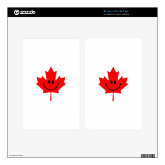 Smiley de Canadá - una cara sonriente en arce rojo Kindle Fire Pegatinas Skins