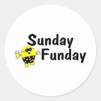Smiley de domingo Funday Pegatinas Redondas