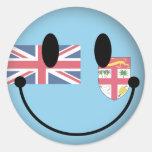 Smiley de Fiji Etiquetas Redondas