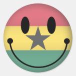 Smiley de Ghana Etiqueta Redonda