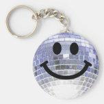 Smiley de la bola de discoteca llaveros personalizados