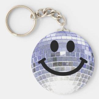 Smiley de la bola de discoteca llavero redondo tipo pin