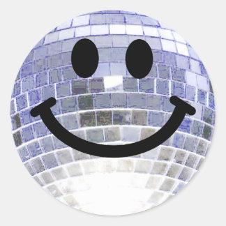 Smiley de la bola de discoteca pegatina redonda