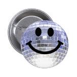 Smiley de la bola de discoteca pin redondo de 2 pulgadas