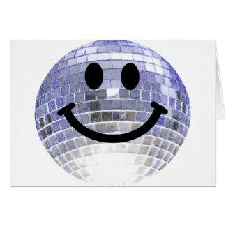 Smiley de la bola de discoteca tarjeta de felicitación