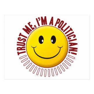 Smiley de la confianza del político postales