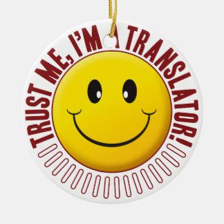 Smiley de la confianza del traductor adorno navideño redondo de cerámica