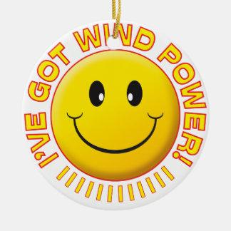 Smiley de la energía eólica ornamento para reyes magos