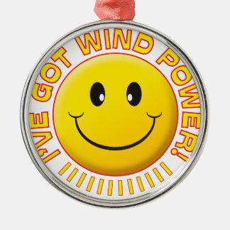 Smiley de la energía eólica ornamento de reyes magos