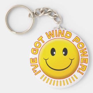 Smiley de la energía eólica llavero personalizado