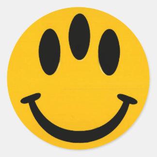 Smiley de la evolución pegatina redonda
