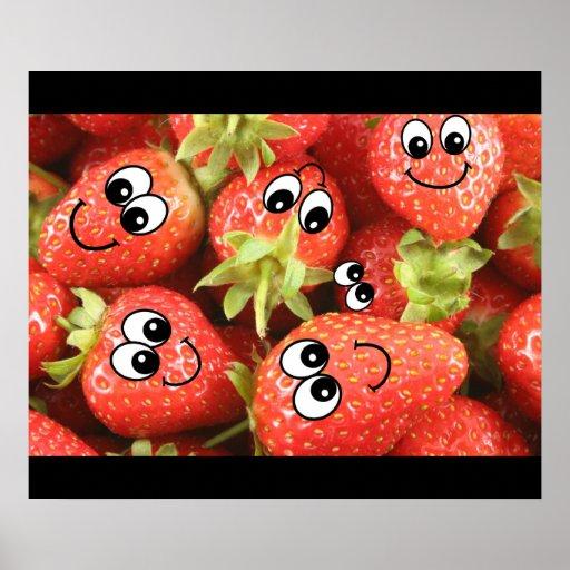 Smiley de la fresa impresiones
