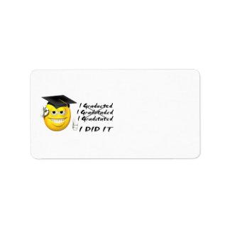 Smiley de la graduación (lo hice) etiquetas de dirección