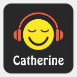 Smiley de la música con los pegatinas/las etiqueta