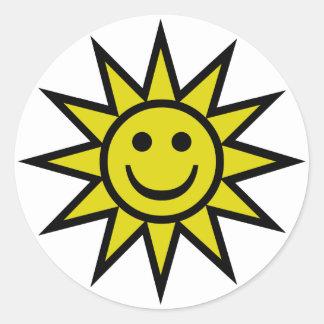 Smiley de la sol pegatina redonda
