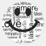Smiley de la tipografía del amor pegatina redonda