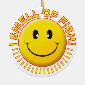 Smiley de los pescados del olor adorno redondo de cerámica