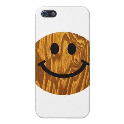 Smiley de madera iPhone 5 fundas