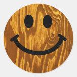 Smiley de madera pegatina redonda