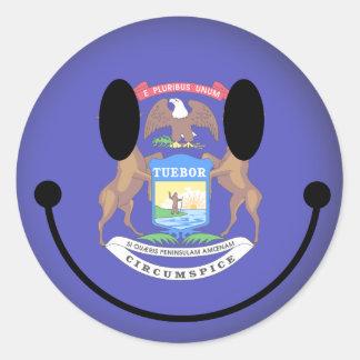 Smiley de Michigan Etiquetas Redondas
