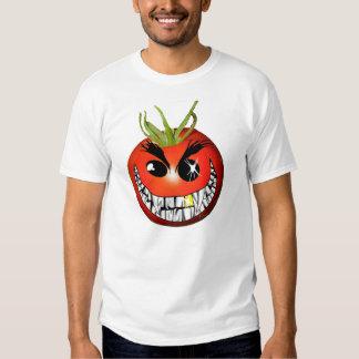 Smiley de mueca rojo malvado del tomate playera