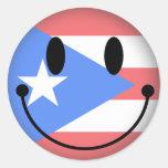 Smiley de Puerto Rico Pegatina Redonda