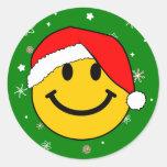 Smiley de Santa Pegatina Redonda