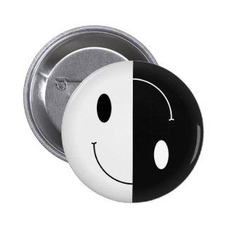 Smiley de Yin Yang Pin Redondo De 2 Pulgadas