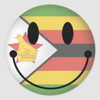 Smiley de Zimbabwe Pegatina Redonda