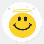Smiley del ángel pegatinas redondas
