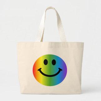 Smiley del arco iris bolsa tela grande
