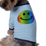 Smiley del arco iris camiseta de perro