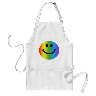Smiley del arco iris delantal