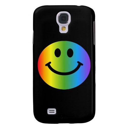 Smiley del arco iris - en negro funda para galaxy s4