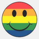 Smiley del arco iris etiquetas redondas