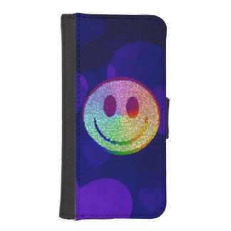 Smiley del arco iris fundas billetera de iPhone 5