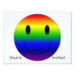 Smiley del arco iris invitación 10,8 x 13,9 cm