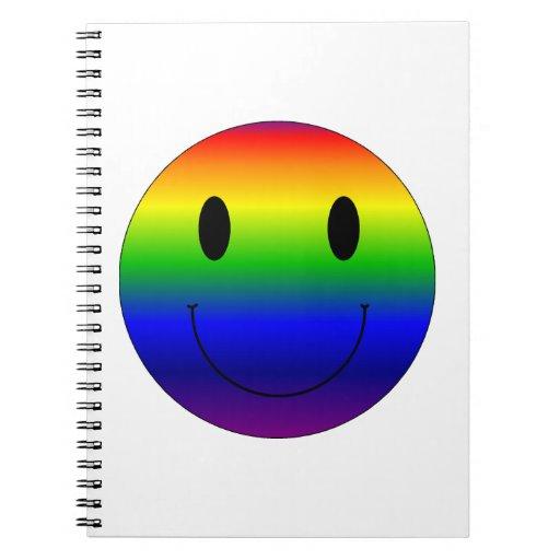 Smiley del arco iris libreta espiral