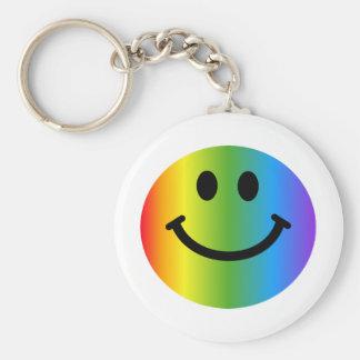 Smiley del arco iris llavero redondo tipo pin