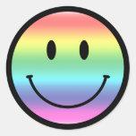 Smiley del arco iris pegatinas redondas