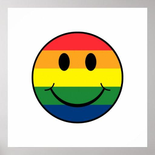 Smiley del arco iris poster