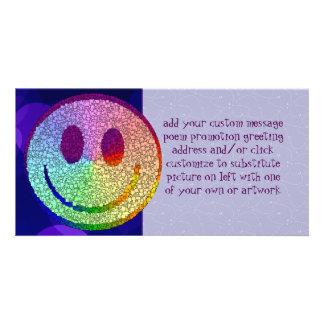 Smiley del arco iris tarjeta fotografica